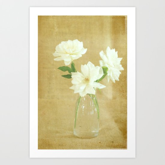 Burlap and Roses Art Print