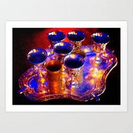 Silver Goblets, Candlelight Art Print