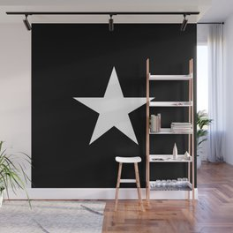 White star on black background Wall Mural