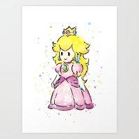 princess peach Art Prints featuring Princess Peach by Olechka