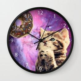 Donut Praying Cat Wall Clock