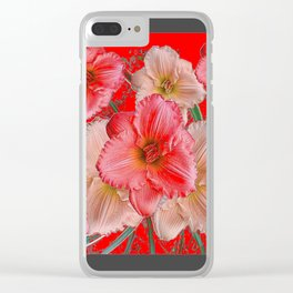 GREY-RED  PINK & CREAM DAYLILIES FLORAL Clear iPhone Case