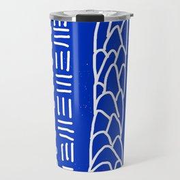 Indigo Blue House Hills Lines Pattern Travel Mug
