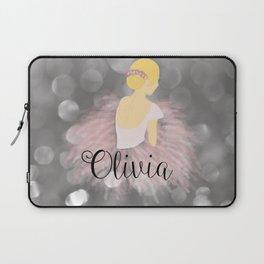 Blonde Ballerina Girl Dancer Personalized Name Olivia Laptop Sleeve