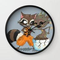 rocket raccoon Wall Clocks featuring Rocket Raccoon & Baby Groot by Whimsette