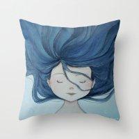 little mermaid Throw Pillows featuring Little Mermaid by Grazia Vincoletto
