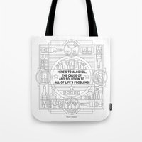 alcohol Tote Bags featuring Here's to alcohol... by Mark Gonyea