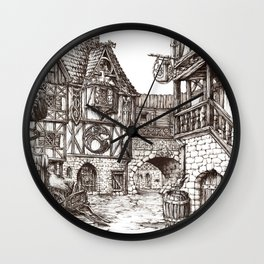 Medieval town ink Wall Clock