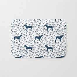 Big Blue Dog and Paw Prints Bath Mat