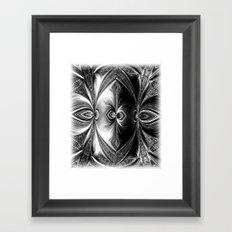 Abstract.White+Black Peacock. Framed Art Print