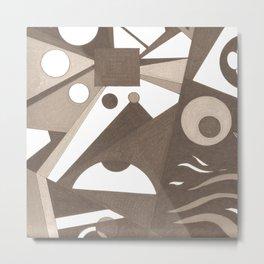 Abstract Minimal Molecules Metal Print