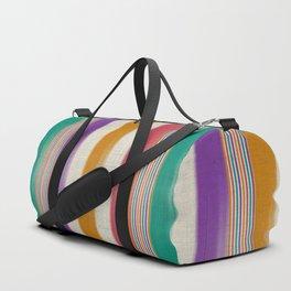 """Colorful Vertical Lines Burlap Texture"" Duffle Bag"