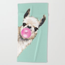 Bubble Gum Sneaky Llama in Green Beach Towel