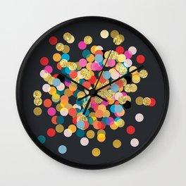 Gold & Colorful Confetti Wall Clock