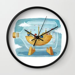 AIRSHIP IN A BOTTLE Wall Clock
