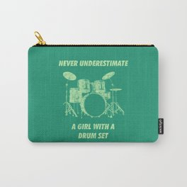 Never Underestimate A Girl With A Drum Set Funny Drums Vintage Drummer Distressed Carry-All Pouch