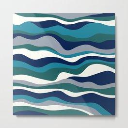 Cordillera Stripe: Teal Navy Combo Metal Print