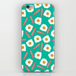 eggs and bacon breakfast food fight apparel and gifts teal iPhone Skin