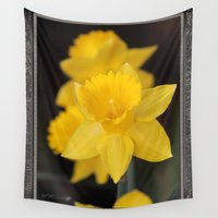 trumpet Wall Tapestries featuring Trumpet Daffodil named Exception by JMcCombie