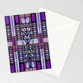 Purple and Blue Art Deco Stained Glass Design Stationery Cards