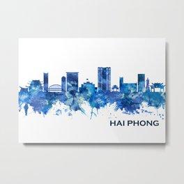 Hai Phong Vietnam Skyline Blue Metal Print