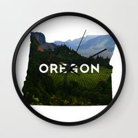 oregon Wall Clocks featuring Oregon by Hillary Murphy