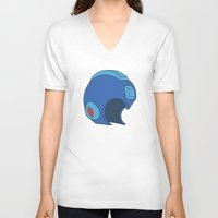 mega man V-neck T-shirts featuring Unmasked Mega Man by Rocom