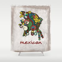 mexican Shower Curtains featuring mexican warrior by laika in cosmos