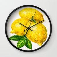 lemon Wall Clocks featuring Lemon by Peiting Tsai
