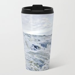 Closeup of the Rushing Waters Falling Down the Rocks of Gullfoss Waterfall in Iceland Travel Mug