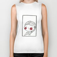 blush Biker Tanks featuring portrait (blush) by woollover