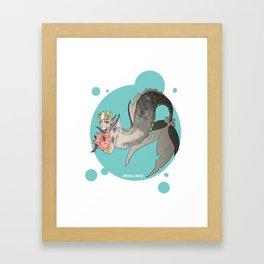 Flower mermaid Framed Art Print