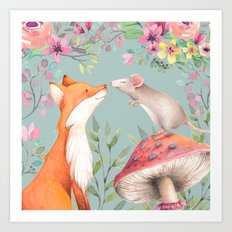 Fox & mouse Art Print