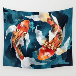Metallic Koi II Wall Tapestry