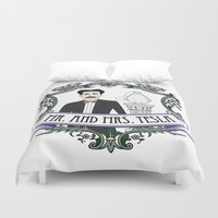 tesla Duvet Covers featuring Mr. And Mrs. Tesla by FakeScience