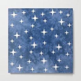 Mid Century Modern Star Pattern 222 Blue Metal Print