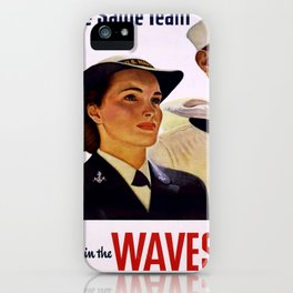 Vintage poster - Enlist in the Waves iPhone Case
