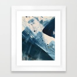 Against the Current [2]: A bold, minimal abstract acrylic piece in blue, white and gold Framed Art Print