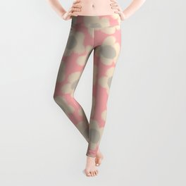 Smudgy Little Flowers Cheerful Floral Pattern in Pink, Buff, and Gray Leggings