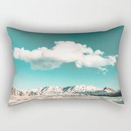 Vintage Desert Snow Cloud // Scenic Desert Landscape in Winter Fluffy Clouds Snow Mountains Cacti Rectangular Pillow