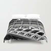 eiffel tower Duvet Covers featuring Eiffel Tower by James Tamim