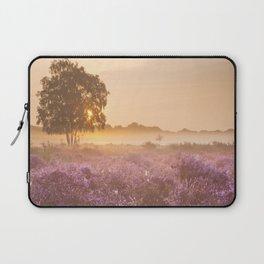 I - Fog over blooming heather near Hilversum, The Netherlands at sunrise Laptop Sleeve