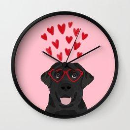 Black Lab love hearts glasses labrador retriever valentines day gifts Wall Clock