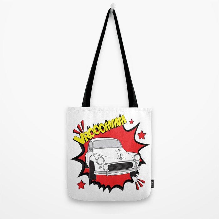 """Morris Minor """"vrooom"""" Pop Art Tote Bag"""