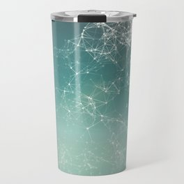 Fresh summer abstract background. Connecting dots, lens flare Travel Mug