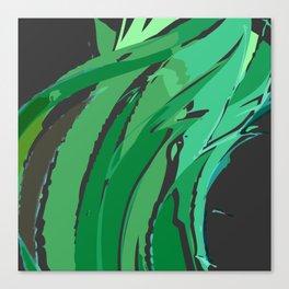 Dark Green Abstract Waves Canvas Print