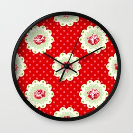 Shabby Chic Rose Pattern Wall Clock