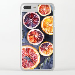 Bloody oranges in watercolor Clear iPhone Case