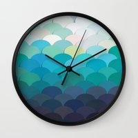 teal Wall Clocks featuring Teal by Julia Alison