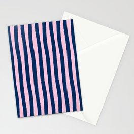 Blue and Pink Cabana Stripes Palm Beach Preppy Stationery Cards